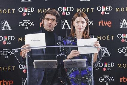 Premios Goya 32 ed David Verdaguer y Bárbara Lennie -lectura nominados-