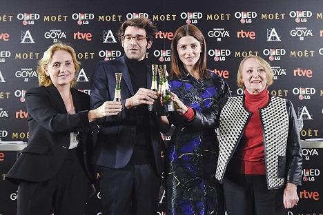 Premios Goya 32 ed Eva Sanz -notaria- Ivonne Blake, David Verdaguer y Bárbara Lennie -lectura nominados-