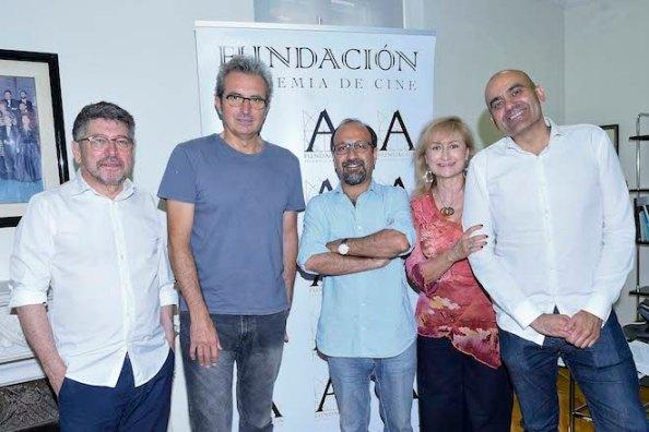 De izq a dcha. Ricardo Steinberg, Mariano Barroso, Asghar Farhadi, Ana Amigo y Rafa Portela. Foto Alberto Ortega