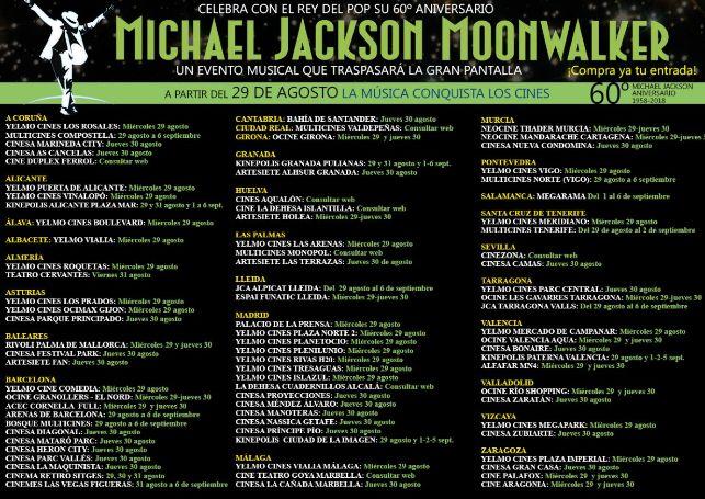 Moonwalker -listado de cines-